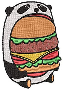 Iron on / Sew On Patch Applique Happy Cute Hungry Panda Eating Hamburger Patty Embroidered Design