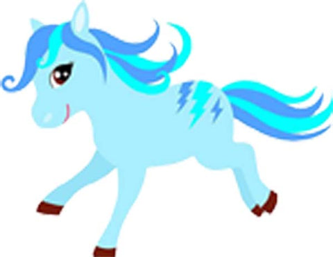 Happy Pony Horse Colorful Cute for Little Girl Toddler Cartoon - Blue Lightning Bolts Vinyl Decal Sticker