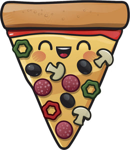 Happy Combo Pizza Emoji Cartoon Icon Vinyl Decal Sticker