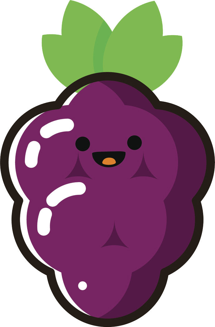 Happy Cute Kawaii Fruit Cartoon Emoji Grapes Vinyl Decal Sticker Shinobi Stickers