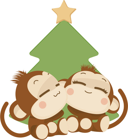 Happy Cute Monkey Love Couple by Christmas Tree Cartoon Vinyl Decal Sticker
