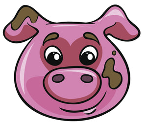 Happy Farm Animal Cartoon Emoji - Pig Vinyl Decal Sticker