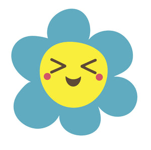 Happy Flower Emoji - Blue Daisy Vinyl Decal Sticker