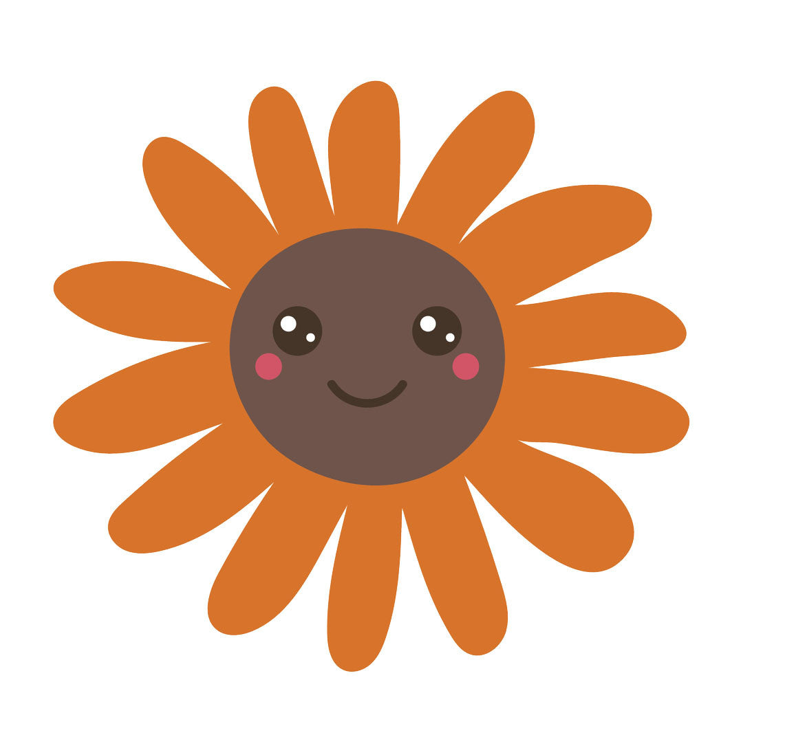 Happy Flower Emoji - Orange Sunflower Vinyl Decal Sticker