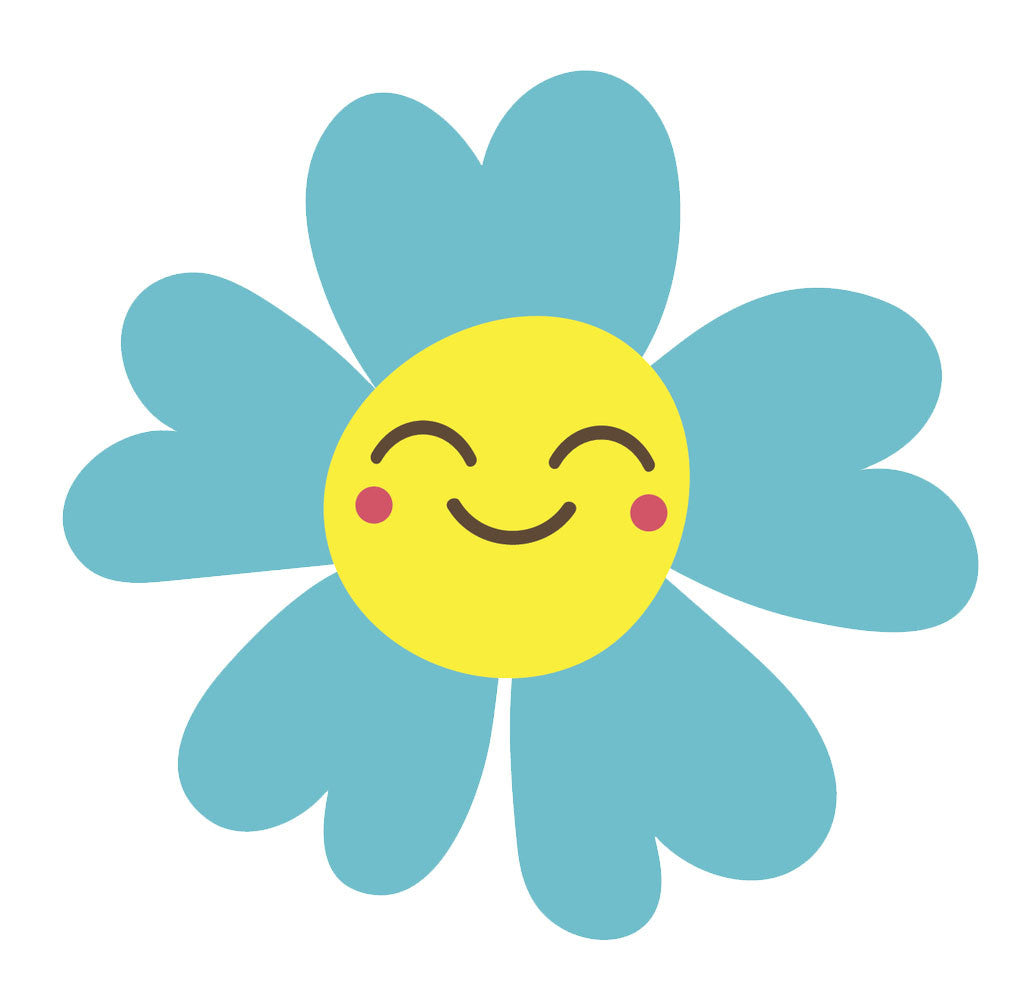 Happy Flower Emoji - Teal Daisy Vinyl Decal Sticker