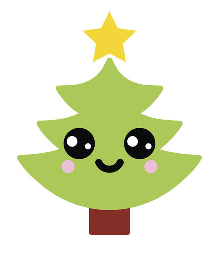 Happy Holiday Christmas Tree Emoji #10 Vinyl Decal Sticker