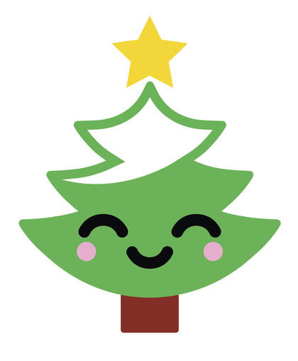 Happy Holiday Christmas Tree Emoji #11 Vinyl Decal Sticker