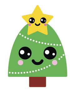 Happy Holiday Christmas Tree Emoji #4 Vinyl Decal Sticker