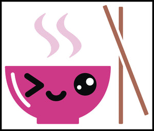 Happy Japanese Food Cartoon Emoji Pink Soup Bowl Vinyl Decal Sticker
