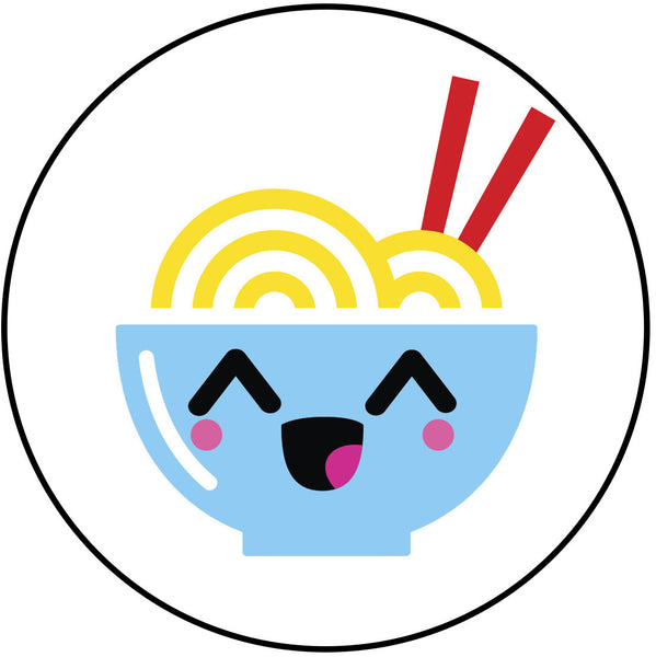 Happy Japanese Food Cartoon Emoji Ramen Noodle Bowl Vinyl Decal Sticker