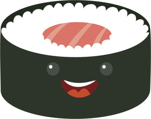 Happy Japanese Sushi Roll Cartoon Emoji #1 Vinyl Decal Sticker