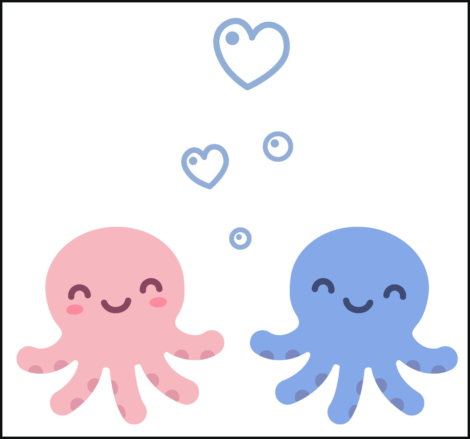 Happy Pink and Blue Octopus Couple with Heart Bubbles Vinyl Decal Sticker