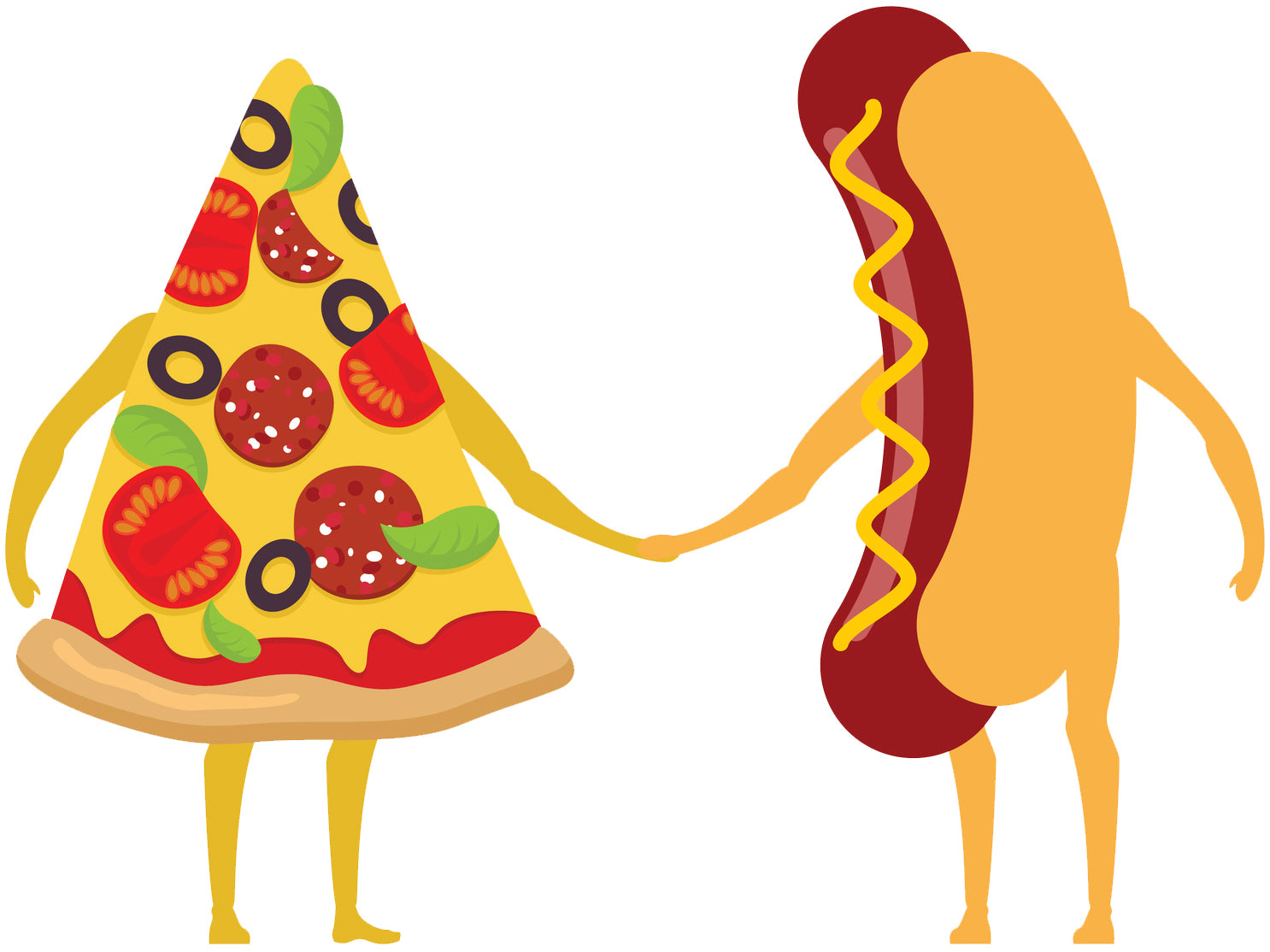 Happy Pizza Hotdog Fast Food Cartoon Couple Vinyl Decal Sticker