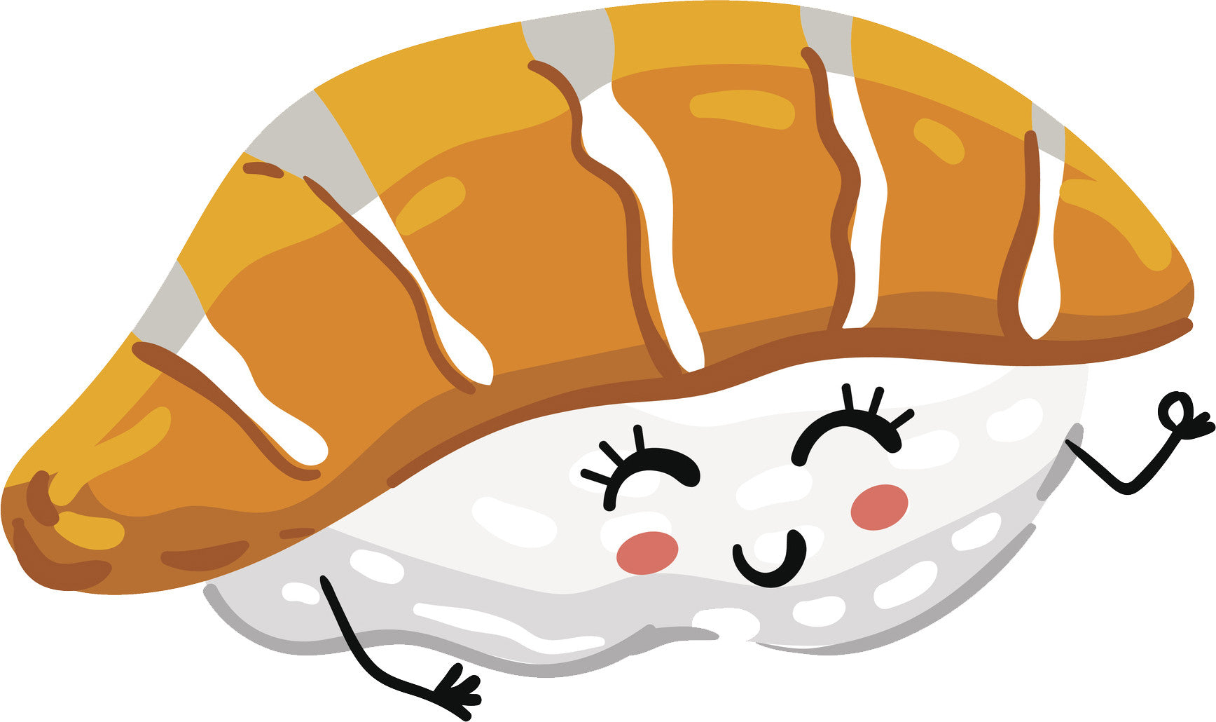 Happy Salmon Kawaii Sashimi Cartoon Emoji Vinyl Decal Sticker