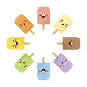 Happy Summer Time Popsicle Emojis in a Circle Vinyl Decal Sticker