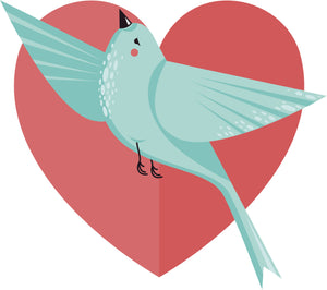 Happy Teal Singing Flying Bird in Pink Heart Vinyl Decal Sticker