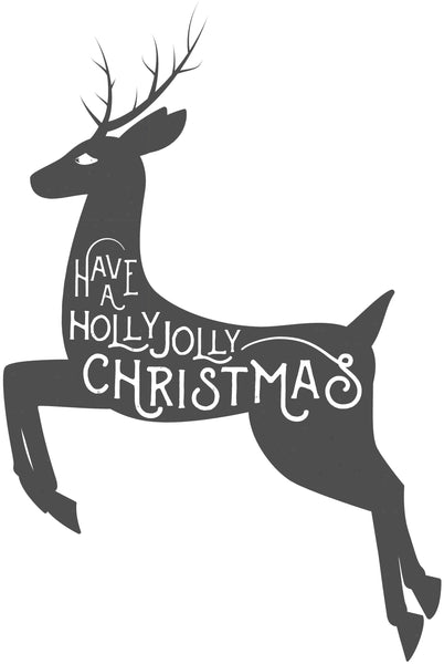 Christmas Reindeer Silhouette.Have A Holly Jolly Christmas Calligraphy On Reindeer Silhouette Vinyl Decal Sticker