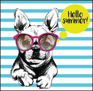 Hello Summer Cool Frenchie French Bulldog Cartoon Icon Vinyl Decal Sticker