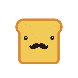 Hipster Bread Slice with Mustache Vinyl Decal Sticker