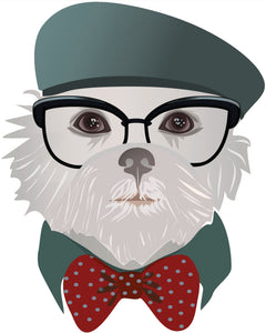 Hipster Mature Vintage Dog - Maltese Vinyl Decal Sticker