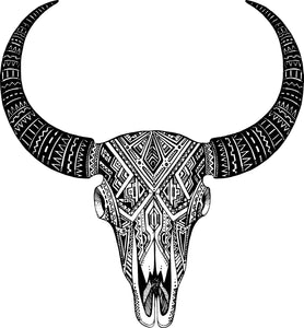Hipster Tribal Pattern Horn Black and White Desert Animal Skull Vinyl Decal Sticker