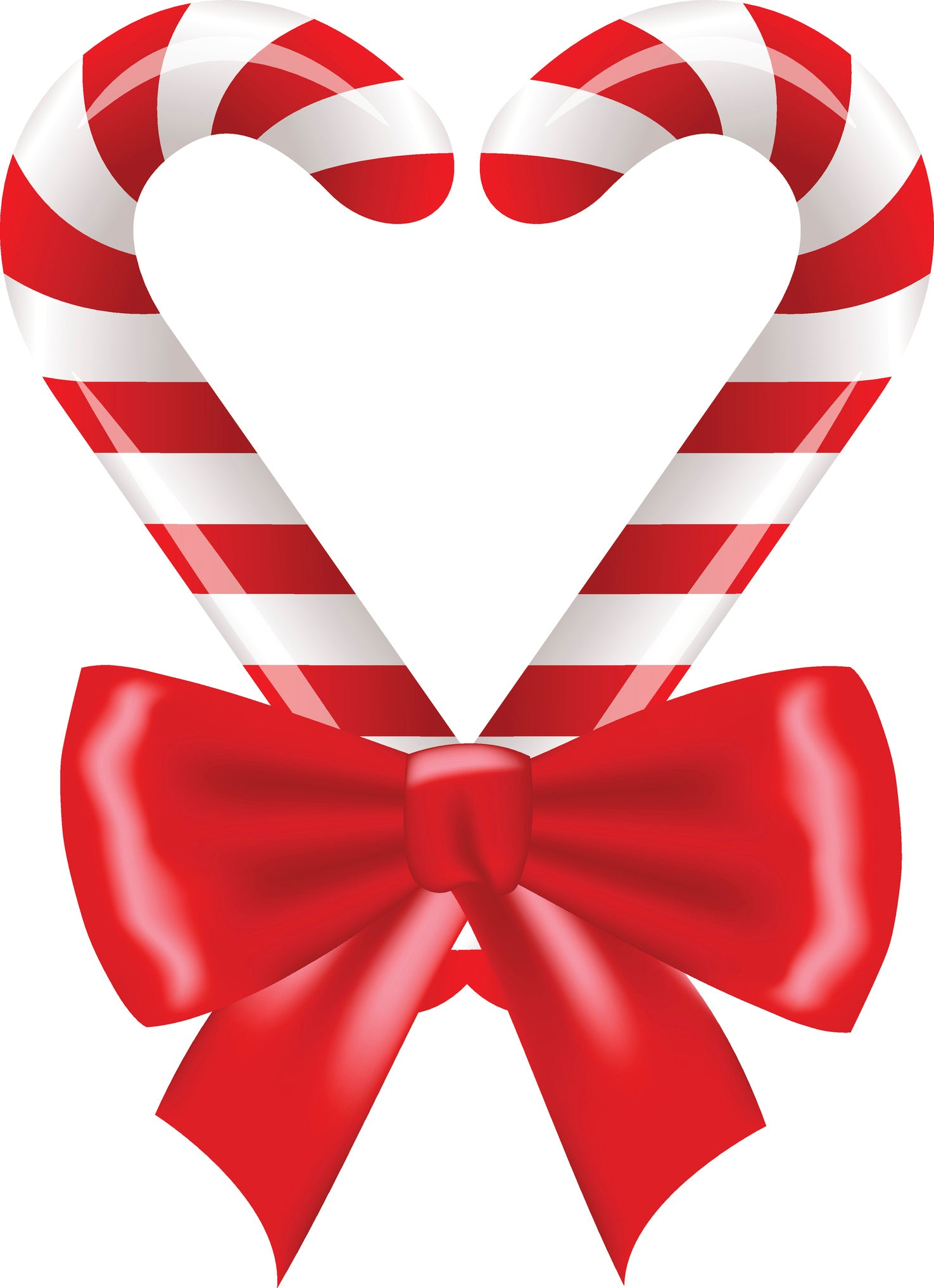 Christmas Candy.Holiday Christmas Candy Cane Heart With Bow Vinyl Decal Sticker