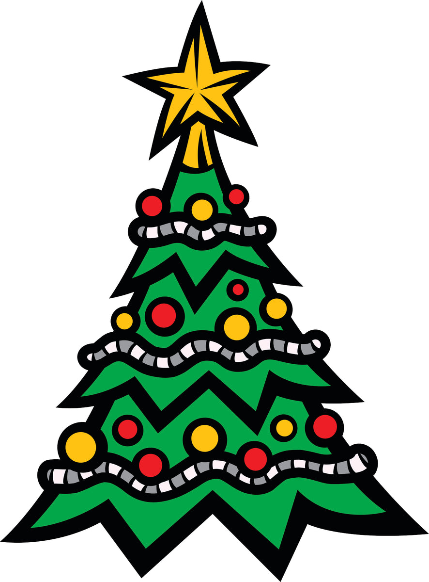 Christmas Tree Icon.Holiday Christmas Tree Cartoon Icon Vinyl Decal Sticker
