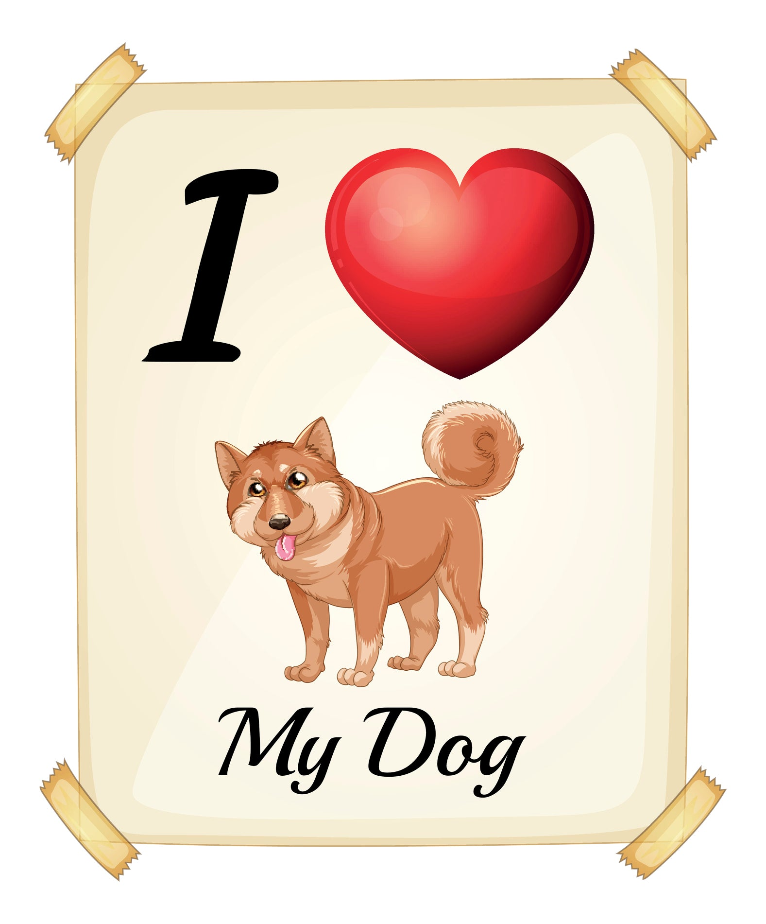 I Heart Love My Shiba Inu Puppy Dog Poster Cartoon Vinyl Decal Sticker
