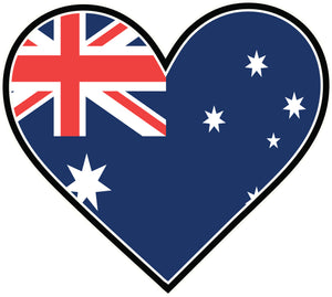 I Love Australia Flag in Heart Vinyl Decal Sticker
