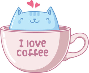 I Love Coffee Kitty Cat in Cup Vinyl Decal Sticker