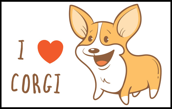 I Love Corgi Puppy Dog Vinyl Decal Sticker