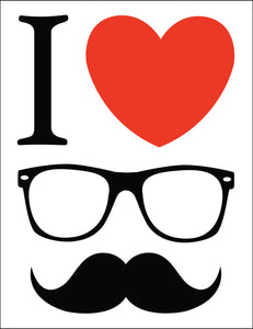 I Love Heart Hipster Glasses and Mustache Border Around Image As Shown Vinyl Sticker