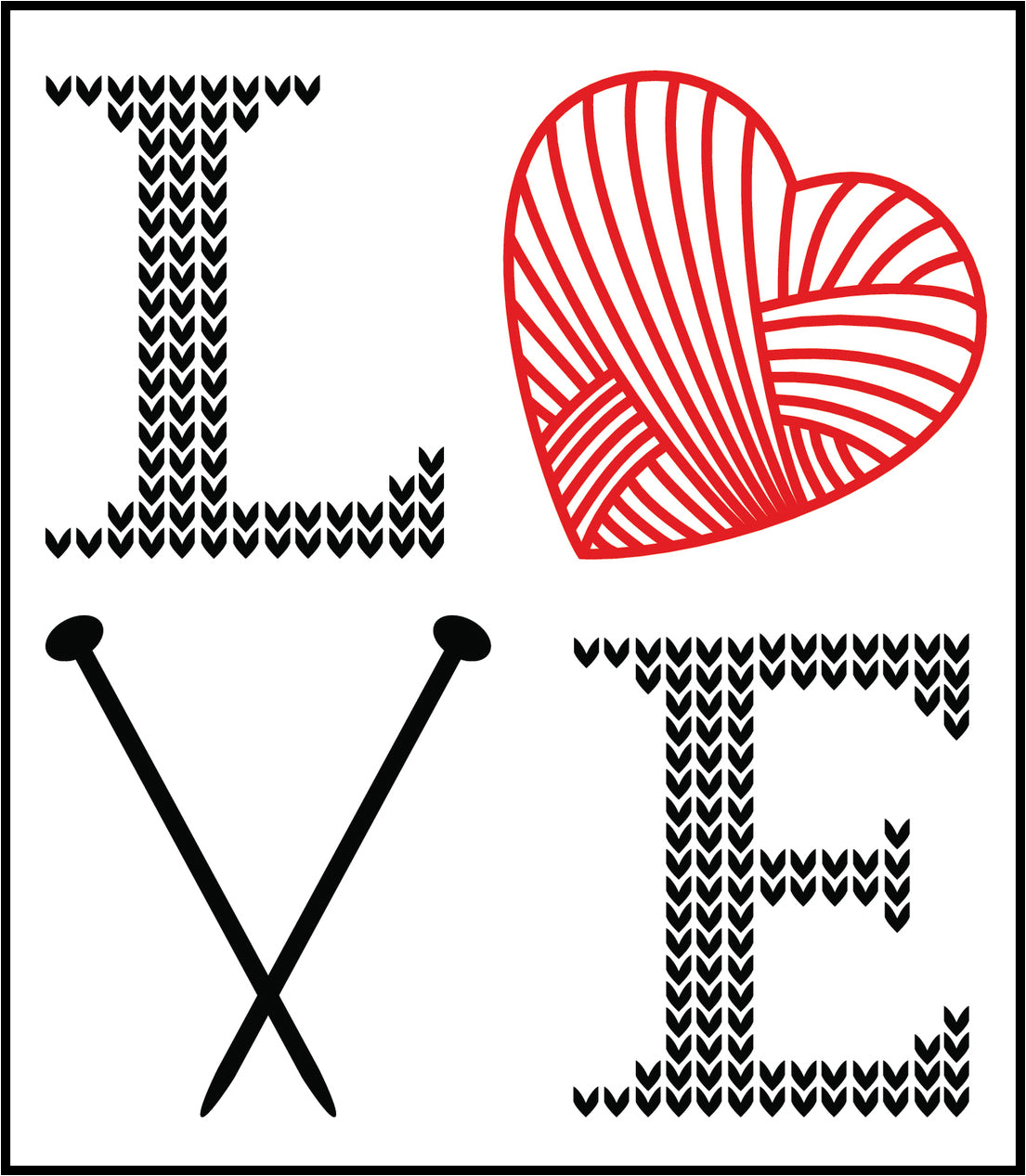 I Love Knitting Heart Art Cartoon Icon #1 Border Around Image As Shown Vinyl Sticker