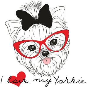 I Love My Yorkie With Glasses and Bow Vinyl Decal Sticker