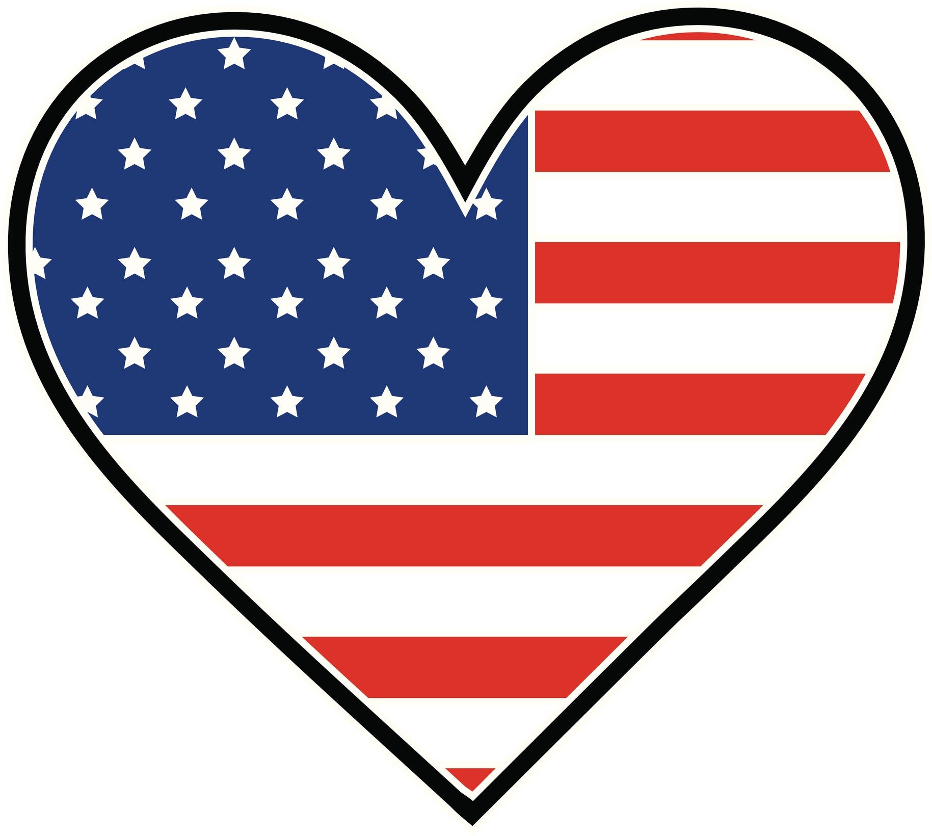 I Love USA Flag  in Heart Vinyl Decal Sticker