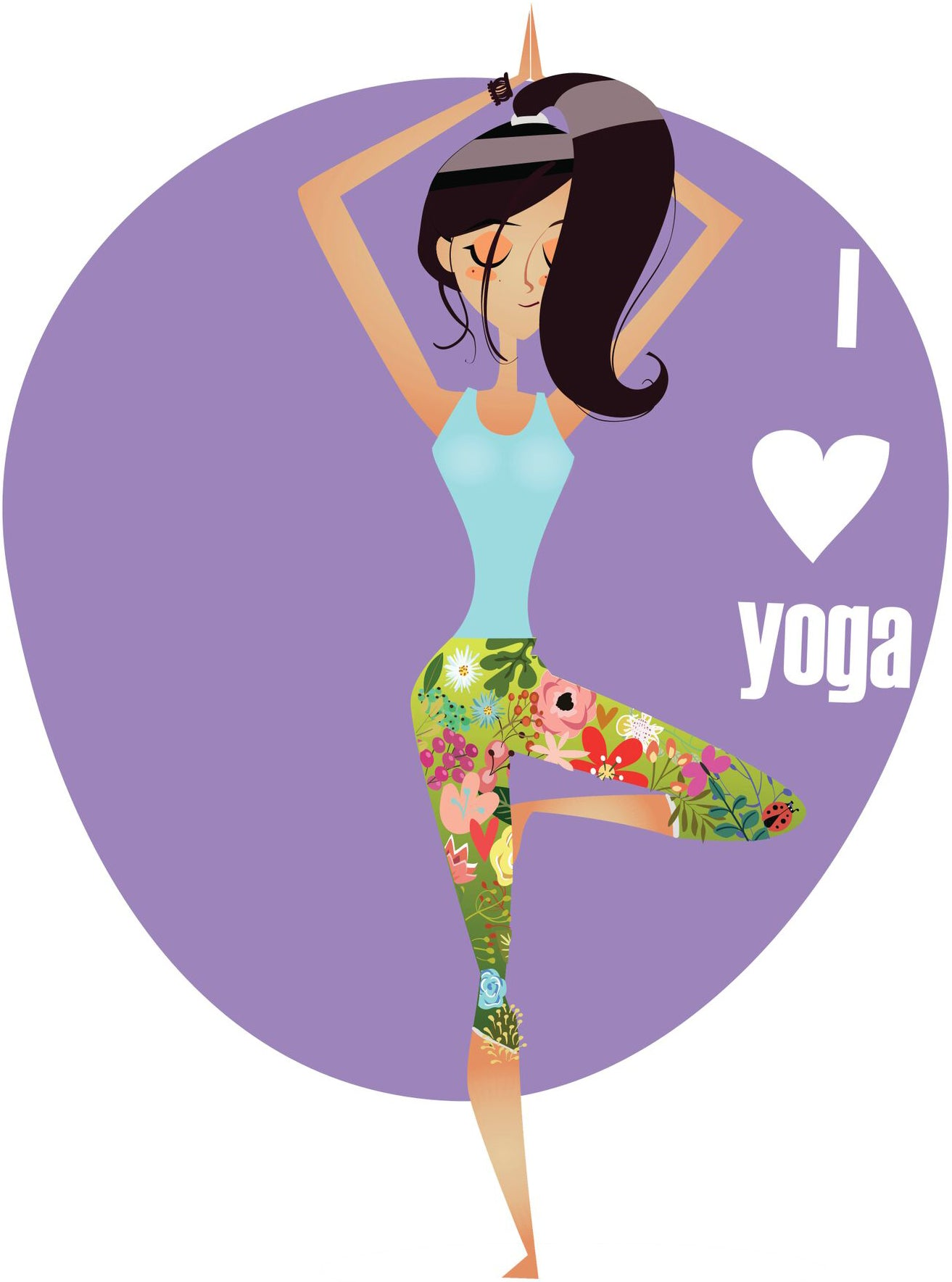 I Love Yoga Yogi GIrl Icon Vinyl Decal Sticker
