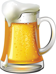 Ice Cold Foamy Mug of Beer Cartoon Icon Vinyl Decal Sticker