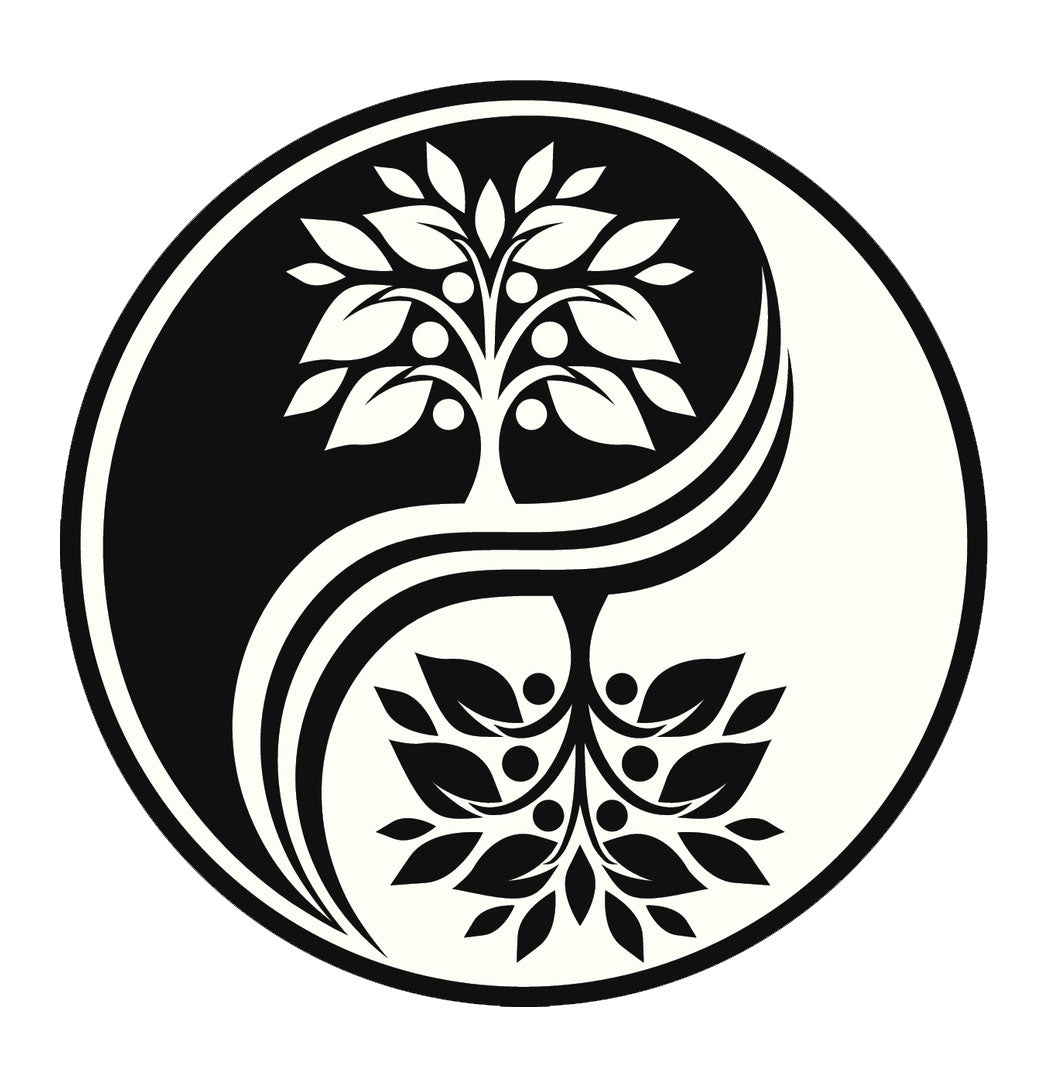 Icon Ying Yang Flowers #7 Vinyl Decal Sticker
