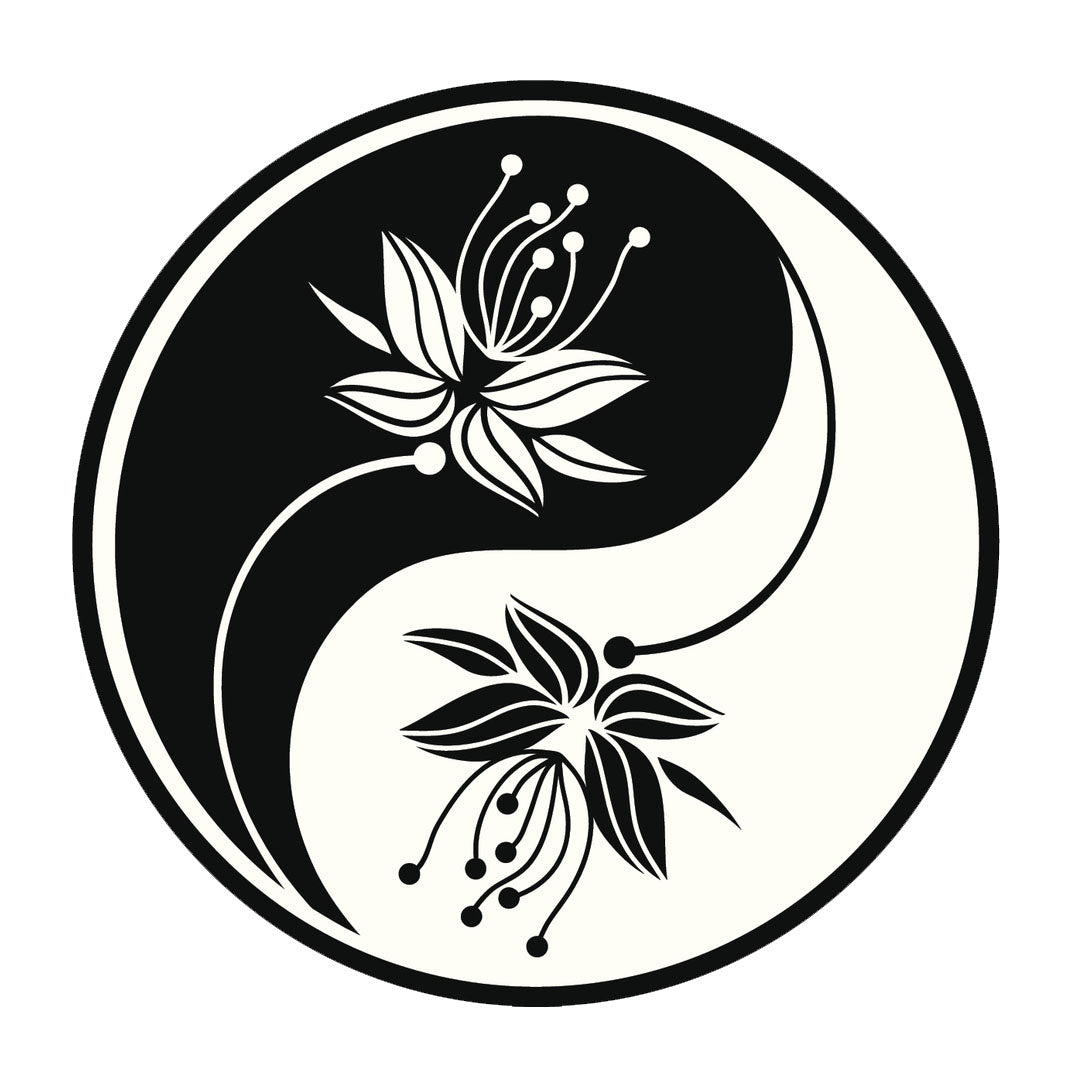 Icon Ying Yang Flowers #9 Vinyl Decal Sticker