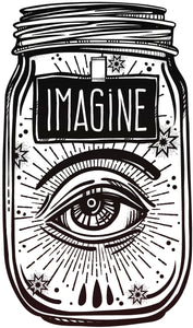 Imagine Eye in Mason Jar Vinyl Decal Sticker