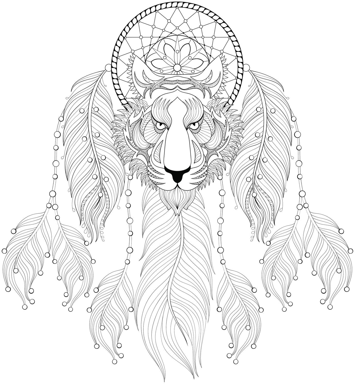 Intense Lion with Dream Catcher and Feathers Vinyl Decal Sticker