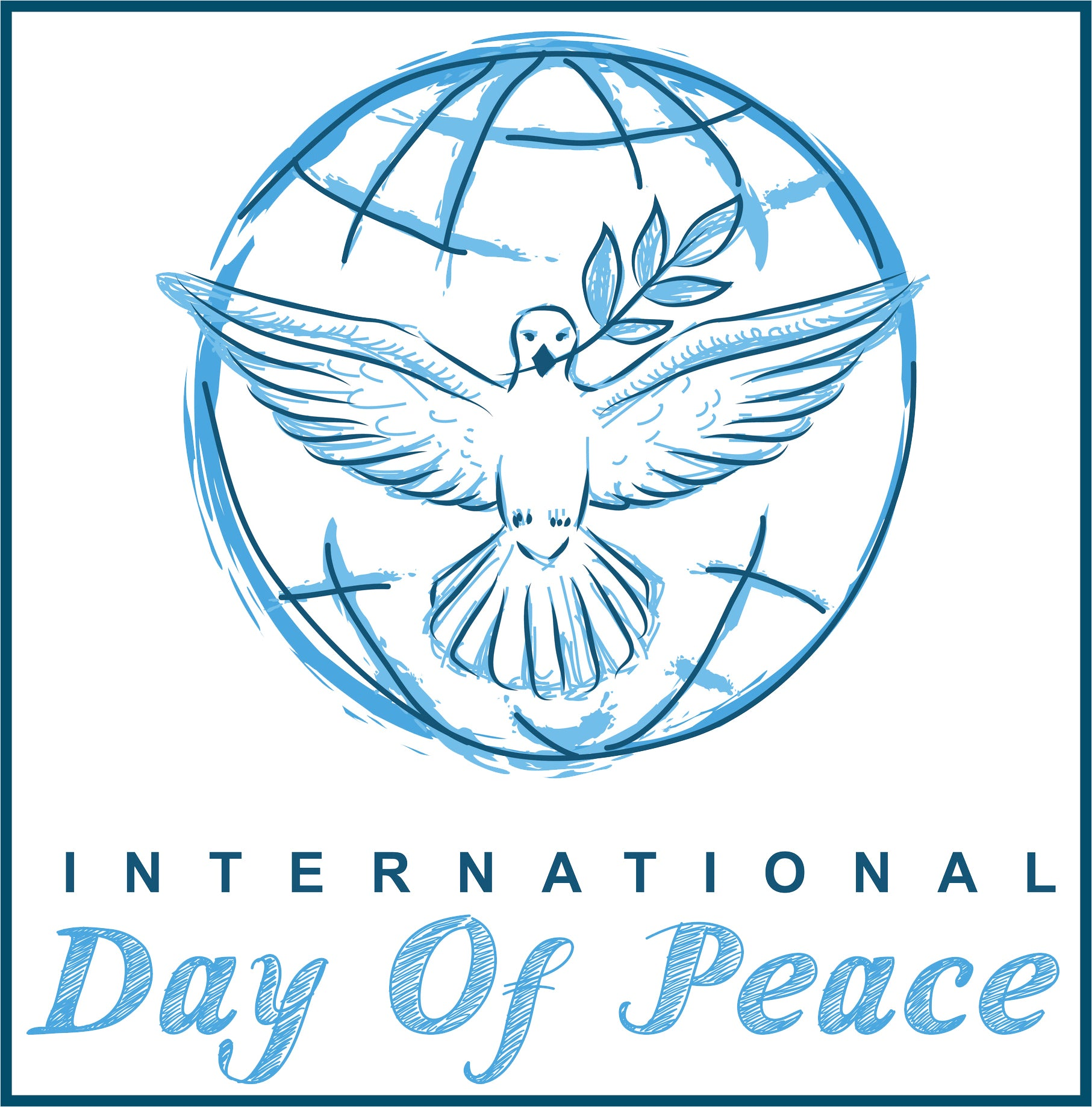 International Day of Peace Cartoon Sketch Icon Border Around Image As Shown Vinyl Sticker