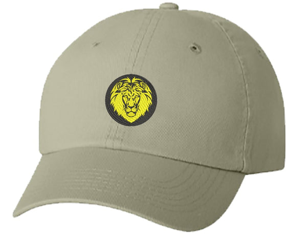 Unisex Adult Washed Dad Hat Simple Black and Yellow Majestic Lion Cartoon Icon Embroidery Sketch Design