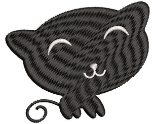 Iron on / Sew On Patch Applique Kids Halloween Kindergarten Nursery Party Icon - Kitty Cat Embroidered Design