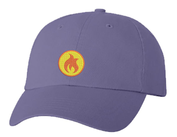 Unisex Adult Washed Dad Hat Simple Orange Yellow Flame Cartoon Icon Embroidery Sketch Design