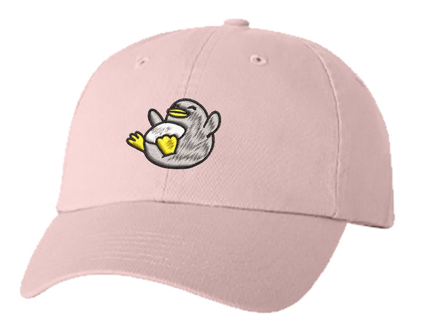 Unisex Adult Washed Dad Hat Happy Friendly Playful Cute Adorable Gray Penguin Cartoon Embroidery Sketch Design