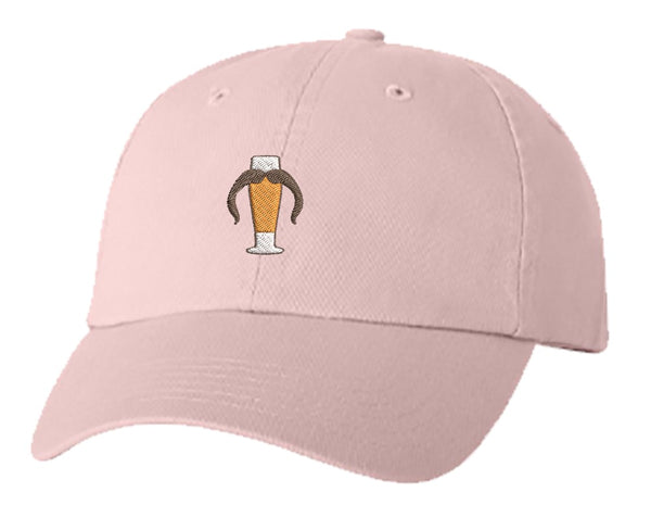 Unisex Adult Washed Dad Hat Pilsner Beer Glass with Horseshoe Mustache Manly Brewery Drink Funny Symbol Icon Cartoon Embroidery Sketch Design