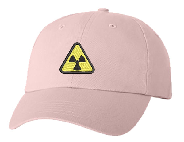 Unisex Adult Washed Dad Hat Simple Yellow Triangle Sign Symbol Icon - Radiation Embroidery Sketch Design