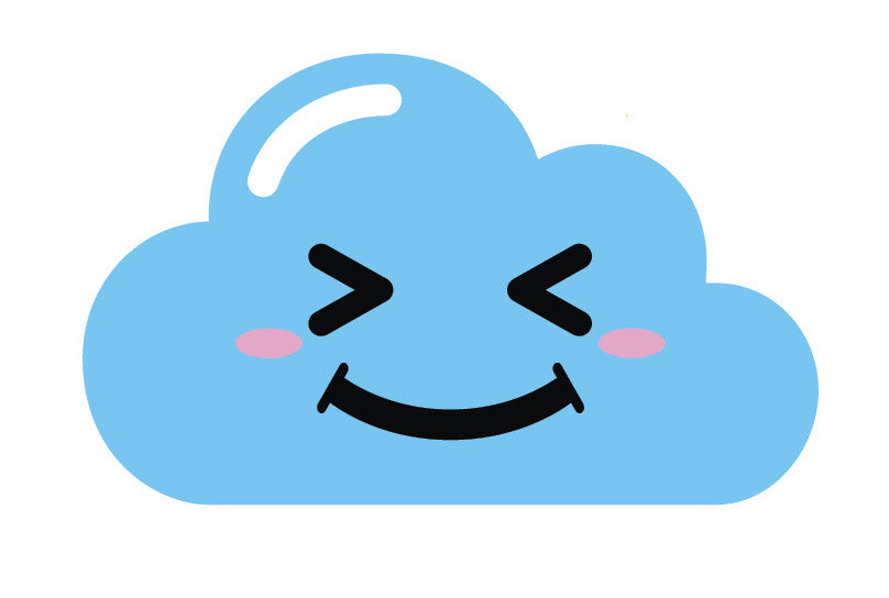 Light Blue Kawaii Cloud Emoji (11) Vinyl Decal Sticker