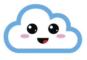 Light Blue Kawaii Cloud Emoji (13) Vinyl Decal Sticker